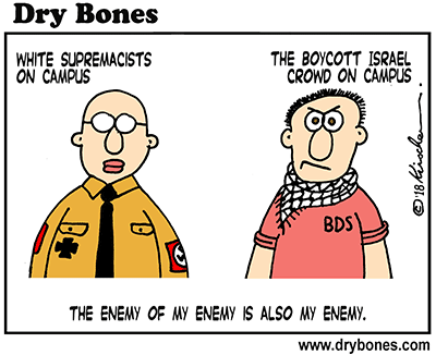 Dry Bones cartoon, White Supremacists,Nazi, campus, academia, antisemitism, BDS,boycott,antisemitic,