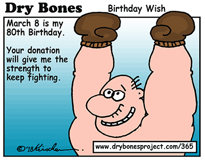 Dry Bones cartoon, sponsorship, donate,antisemitism, birthday,