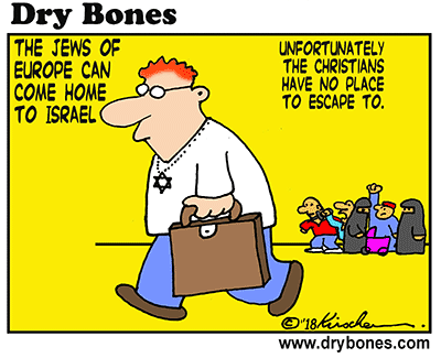 Dry Bones cartoon, Jews, Europe, antisemitism, Christians, Islam, Eurabia, Islamization, Aliyah,