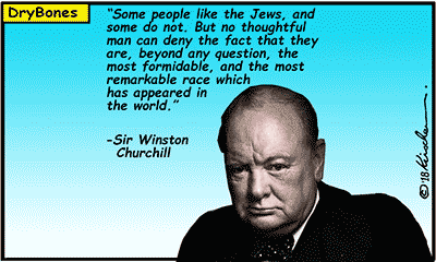 Dry Bones cartoon, Winston Churchill, antisemitism, Jews, Churchill,