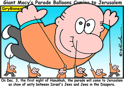 Dry Bones cartoon,Thanksgiving Day, Macy's,diaspora, Israel, Jews, Jerusalem,parade,