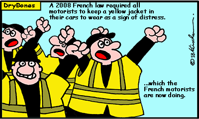 Dry Bones cartoon, France, French, demonstrations, yellow jackets,