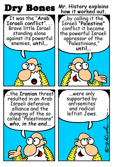 Dry Bones cartoon, Mr History, Israel, Arab states, Palestinians, Iran,war, peace, Jews, antisemites,