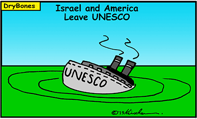 Dry Bones cartoon,Trump,America, USA, UN, United Nations,UNESCO,Israel, border=